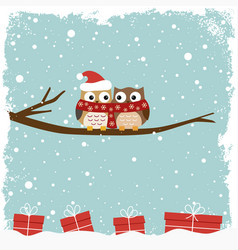 winter card with two owls vector image