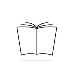 black thin line book logo vector image