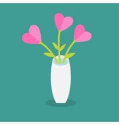 Bouquet of pink heart flowers in a vase Flat vector image vector image