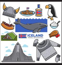 iceland travel tourism landmarks and reykjavik vector image vector image