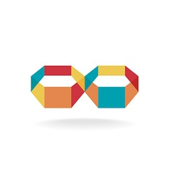 Infinity flat colorful 3d transparent symbol logo vector image