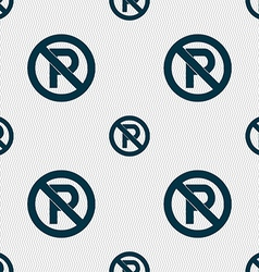No parking icon sign Seamless pattern with vector image