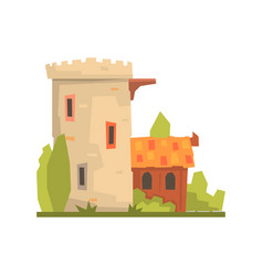 old house and stone fortress tower ancient vector image