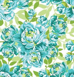 Seamless floral pattern with blue peonies vector image