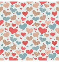 Seamless Pattern Romantic Love Hearts Retro Sketch vector image vector image