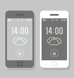 Two smartphone - black and white vector image