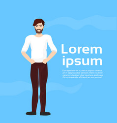 handsome man on blue background with copy space vector image