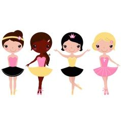Little beautiful ballerina girls isolated on white vector image vector image