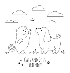 Pets friends Dog and cat playing together doodle vector image