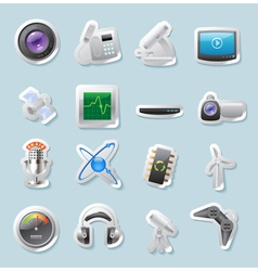 Sticker icons for technology and devices vector image vector image