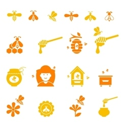 Bee and honey icon set Organic natural vector image