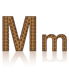 letter m is made grains of coffee isolated on whit vector image