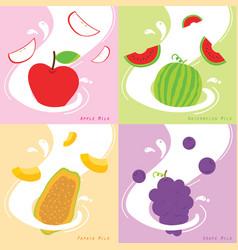 Milk flavor apple papaya watermelon grape vector