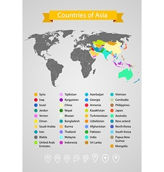 World map infographic template Countries of Asia vector image vector image