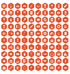 100 cafe icons hexagon orange vector