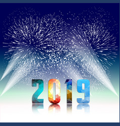 2019 happy new year greeting card with colorful vector