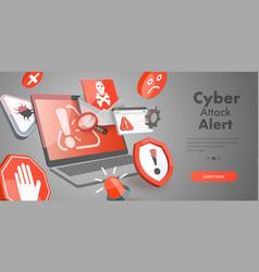 3d conceptual of cyber attack vector