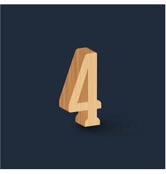 3d wood font character vector image