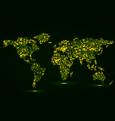 abstract world map of glowing particles vector image