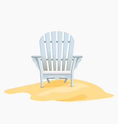 Adirondack chair standing on the yellow sand vector