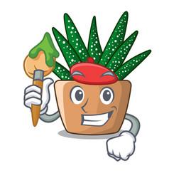 artist mini zebra cactus on cartoon pot vector image