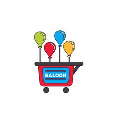 Balloons sell cart vector