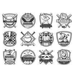 baseball sport team badge softball league game vector image