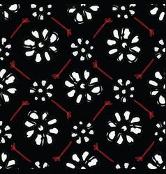 black bohemian retro floral pattern vector image
