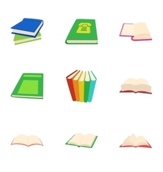Books icons set cartoon style vector
