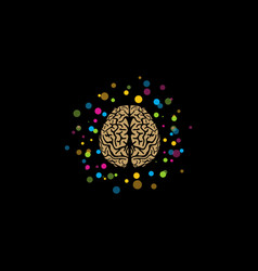 Brain logo stylized brain with color and bright vector