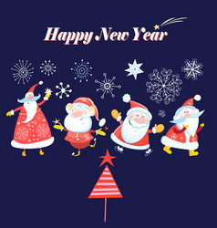 Bright winter card with dancing santa clause vector