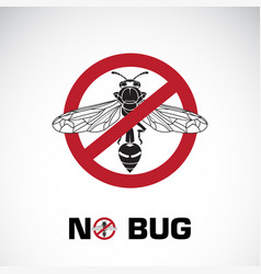 bug in red stop sign on white background vector image