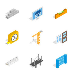 Building icons isometric 3d style vector