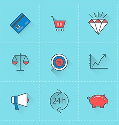Business icons icon set in flat design style For vector image