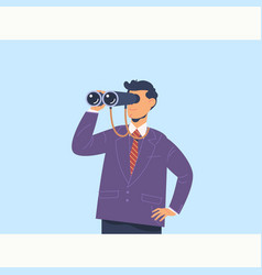 Businessman with binoculars search conceptflat vector