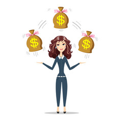 businesswoman holding bags full of money vector image