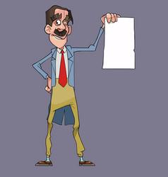 cartoon happy man in dress coat holding blank vector image