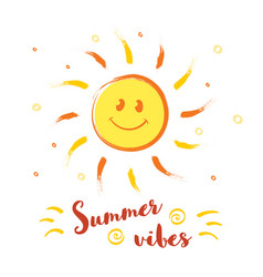 cheerful smiling sun with with summer vibes vector image