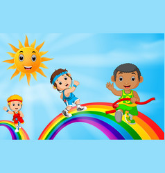 children sport running over the rainbow vector image