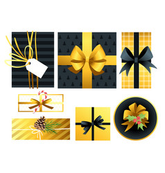 christmas and new year presents vector image