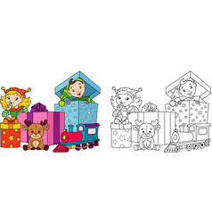 christmas elves coloring page vector image
