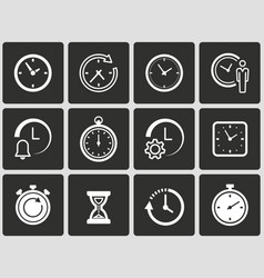 clock time icons set vector image