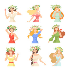 collection young beautiful women with flower vector image