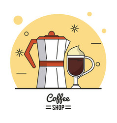 colorful poster of coffee shop with kettle and vector image