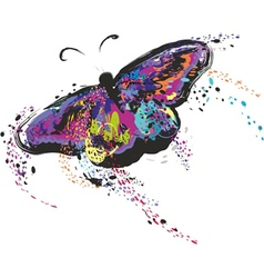 Colourful flying butterfly with spread win vector