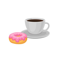 cup of fresh black coffee and sweet donut with vector image