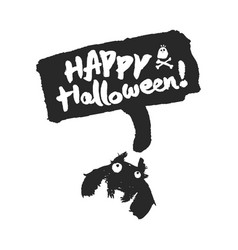 cute bat with happy halloween speechbubble vector image