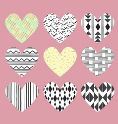 Cute hearts on pink background with dots and vector