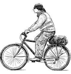 Cyclist on a walk vector