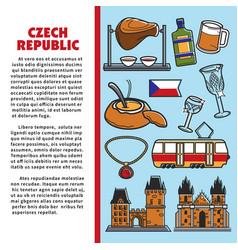 Czech republic symbol cuisine and architecture vector